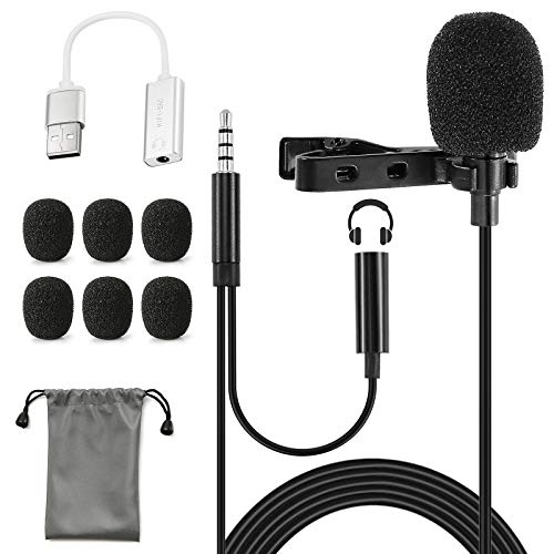 Lavalier Lapel Microphone with 3.5mm Earphone Jack and USB Adapter