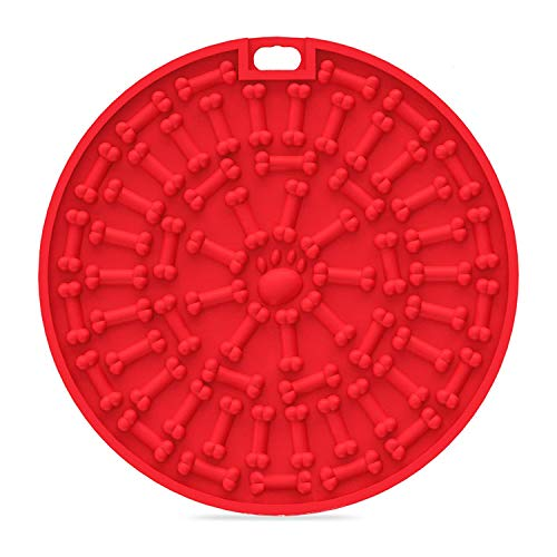 H-Jia Dog Lick Mat, Peanut Butter Lick Pad with Strong Suction to Wall, Slow Feeder Lick Mat for Dogs, Durable Food Grade Silicone Lick Pad for Pet Bathing, Grooming, and Dog Training (Red-Hole)