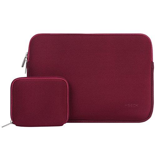HSEOK 13-13,5 Pollici Custodia Borsa per Laptop, Neoprene Elastico Impermeabile Sleeve per MacBook Air PRO 13'-13,3', Surface Laptop 13,5', Borsa con Piccolo Caso - Vino Rosso
