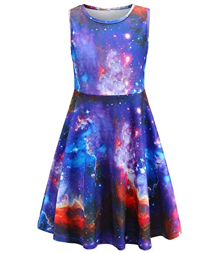 Fiream Summer Dresses for Girls, Sleeveless Casual Party Sun Dress, Galaxy Dress, Purple Clothes for Kids, 4-13 Years (SS504,10-13 Years)