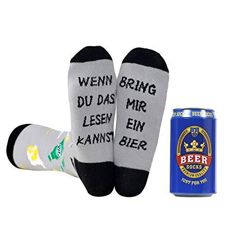 Belloxis Bier Socken Herren 43-46 Lustige Arbeits Bunte Socken,Männer Partner Bier Geschenke (1 Paare)