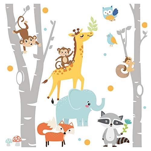 Little Deco Wandtattoo Waldtiere & Birkenstämme I Wandbild 329 x 250 cm (BxH) I Kinderzimmer Mädchen Babyzimmer Aufkleber Wandaufkleber Junge Wandsticker DL546 Farbe 1