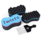 3Pcs Magic Twist Hair Sponges, Curling Sponge for Women and Men, Sponge Brush with 1 Metal Hair Pick, Hair Sponges for Natural Hair (Ultimate )