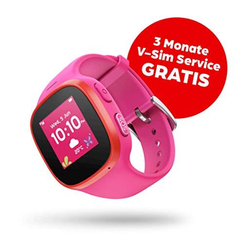 V-Kids Watch by Vodafone - Smartwatch mit GPS-Tracker und SOS-Alarmknopf, rosa + 3 Monate Service Gutschein (kostenfreies Datenpaket)
