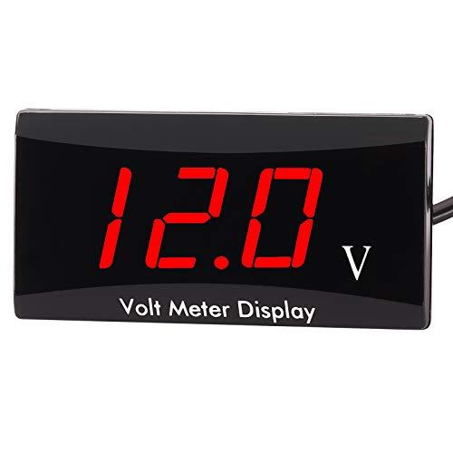 Kinstecks [Verbesserte Version Motorrad Voltmeter DC 12 V Digital Voltmeter Anzeige LED-Anzeige Spannungsmesser für Motorrad Autobatterie Spannung Monitor-Rot