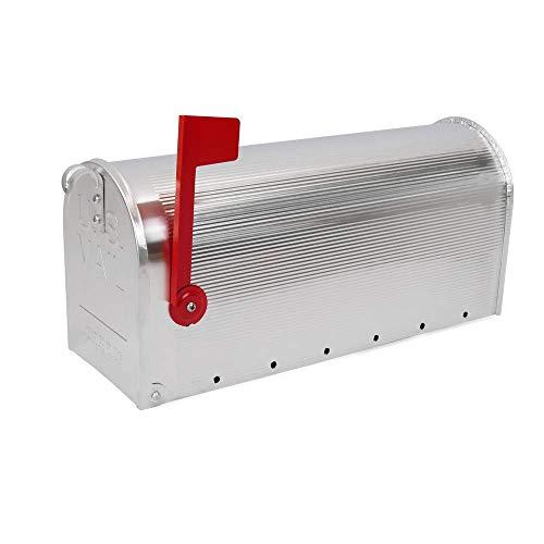 PrimeMatik - Aluminium US Mail Postkasten für die amerikanische Post Silber