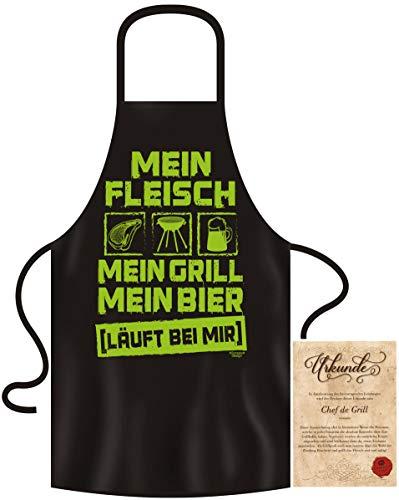 Grillset für echte Männer Mein Fleisch Mein Grill Mein Bier Geschenkset mit Grillschürze Männer lustig Geschenkidee Mann Hobby Griller