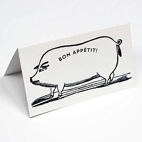 Nancy Nikko Design Bon Appetit Place Tarjetas con ilustración de Cerdo para cenas y Eventos. Estilo de Tienda de campaña, con Puntadas para fácil Plegado. Disponible en Paquetes de 12 y 25