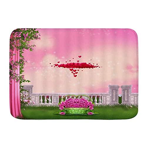 Dörrmatta välkomstmatta Dörrmattor, rött hjärta rosa rosgröna löväng, köksgolv badmatta matta absorberande inomhus badrumsdekor för kök badrumsgåva