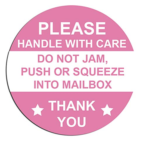 """2 Inch Round Pink """"Do Not Jam Push or Squeeze into Mailbox"""" Stickers Handle with Care Shipping Labels Fragile Stickers - Do Jam Push or Squeeze Warning Shipping Stickers 500 Adhesive Labels"""