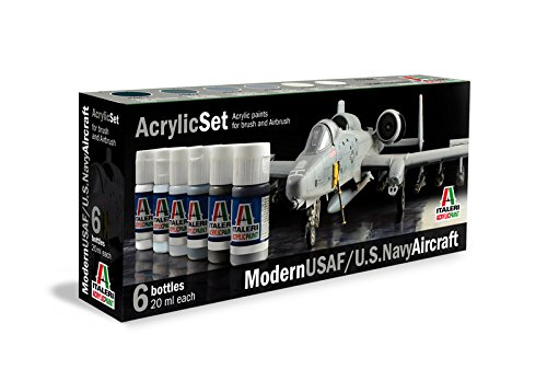 Italeri 431Ap Set 6 Colori Acrilici per Modellismo, Modern Usaf/U.S. Navy Aircraft