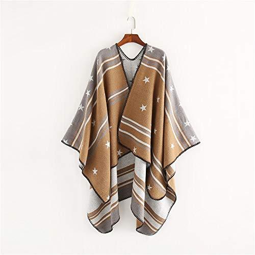 Alvnd vrouwen stijl en wijze ster strips sjaal verpakking, warme sjaal poncho gebreide jas sjaal 130 * 150cm Colour 3