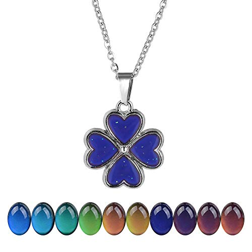 """FM FM42 Temperature Sensing Color Changing 4 Leaf Clover Pendant Necklace with 19.29"""" Stainless Steel Rolo Chain ZN1127"""