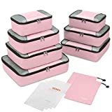 Gonex Packing Cubes Set,Lightweight Travel Luggage Suitcase Organizers Bags 9pcs Set with 2 Shoe Bags + 4 Reusable Zip Bag Pink