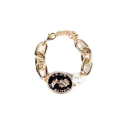 LOLA CASADEMUNT Pulsera cadena dorada perla y moneda 'queen' lacada negra