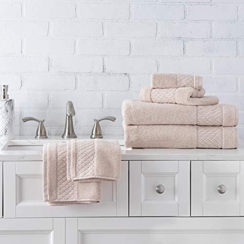 Welhome Hudson 100% Pure Organic Cotton 6 Piece Towel Set | Soft Rose | Eco Friendly | Plush | Durable & Absorbent | Hotel & Spa Decorative Bathroom Towel | 651 GSM | 2 Bath 2 Hand 2 Wash Towels