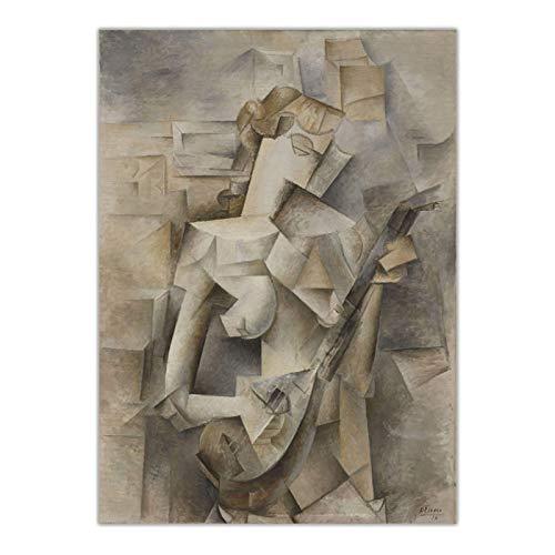 Mxibun Pablo Picasso 《Chica Con Mandolina, 1910》 Lienzo