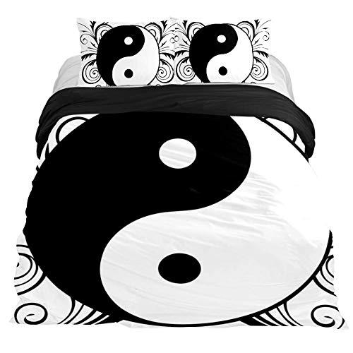 Eslifey Religion Ying Yang Tao Zen Juego de Funda de edredón de 3 Piezas de 150 x 200 cm para Dormitorio, King 102 x 90\19 x 29 in