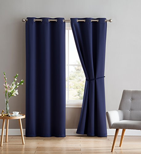 Nicole - 2 Premium Grommet Blackout Window Curtain Panels with Tiebacks - Solid Thermal Insulated Draperies - Total Size 76 inch Wide (38 Each Panel) - 84 inch Long (2 Panels 38x84, Navy)