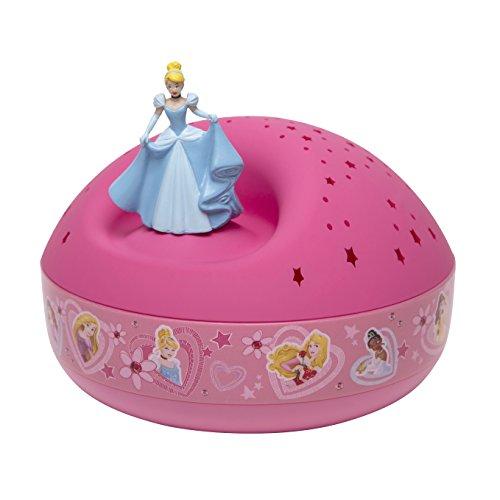 TROUSSELIER - Cendrillon - Disney Princesses - Veilleuse - Idéal Cadeau de Naissance - Projecteur d'Etoiles Musical - Figurine rotative - Piles inclues
