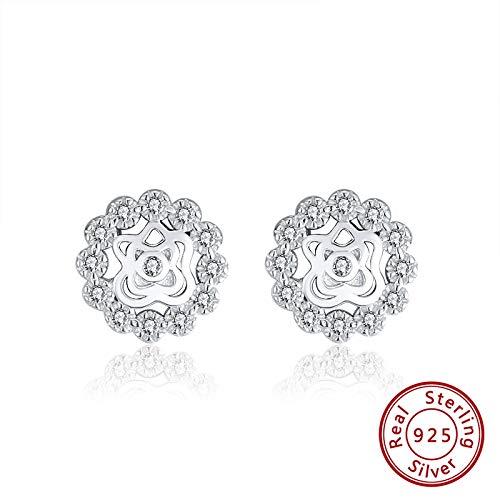 NA - Pendientes de plata 925 para mujer con diseño de flores, pendientes de plata 925