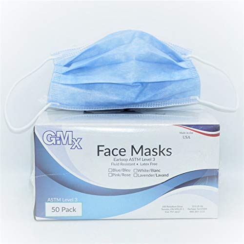 GMX Earloop ATSM Level 3 Medical Mask Certified by Nelson Lab, Made in USA, Fluid Resistant, Latex Free Lavender Face Mask Bx/50
