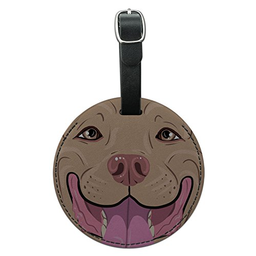 Smiling Pit Bull round luggage tag