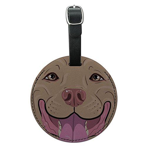 Graphics & More Hundemarke, Pit Bull Gesicht, Leder, rund, Blau, mehrfarbig (mehrfarbig) - LEATHER.TAG.ROUND.07297