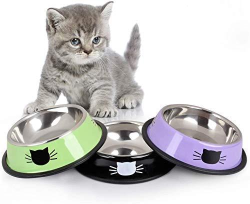 Ciotola per gatti Ciotola per animali Ciotola per cibo per gatti in acciaio inossidabile Ciotola per acqua con base in gomma antiscivolo Ciotole per alimenti per gatti Set di 3 (A)