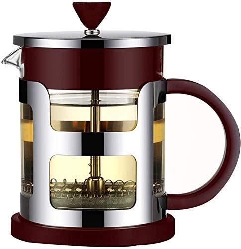 DFGER Caffettiere all'Inglese Stampa Caffettiera Caffettiera Cafetiere in Acciaio Inox con brocca di Vetro, stantuffo di caffè con Filtro, caffettiera Manuale con Finitura, Nero (Size : 600ML)