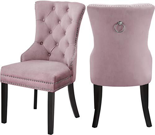"""Meridian Furniture Nikki Collection Modern   Contemporary Velvet Upholstered Dining Chair with Wood Legs, Button Tufting, and Chrome Nailhead Trim, Set of 2, 23"""" W x 23"""" D x 40"""" H, Pink"""