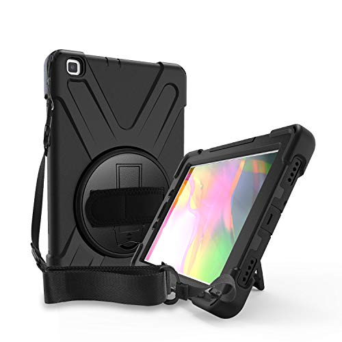Gerutek Samsung Galaxy Tab A 8.0 inch 2019 P200/P205 Case with Pen Slot, Heavy Duty Shockproof Rugged Tough Case, Rotating Stand and Hand/Carry Strap Protective Cover for Samsung tab A P200/P205,Black