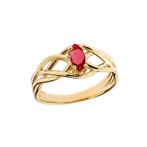 Exquisite 10k Yellow Gold Ruby Celtic Knot Engagement/Promise Ring (Size 11.5)
