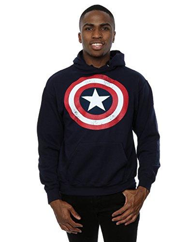 Sudadera con capucha para hombre, diseño del escudo del Capitán América de Marvel Azul azul marino Mediu