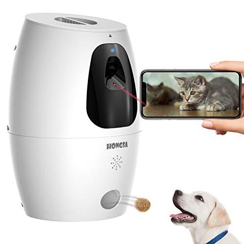 HONGSA Smart Pet Camera with Treat Dispenser & Tossing, Dog Cat Camera, 2.4G...