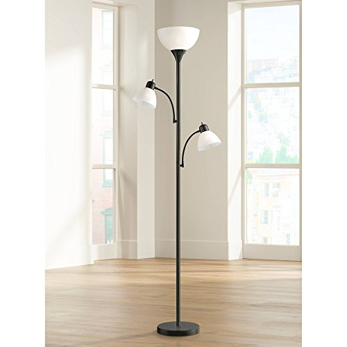 Black Tree Torchiere 3-Light Pole Lamp