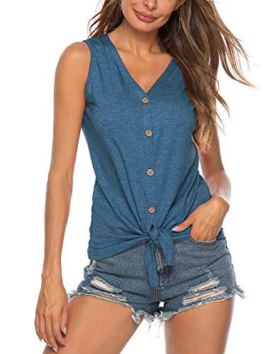 Damen Ärmellose Bluse Chiffon V-Ausschnitt Elegant Weste Top Hemdbluse Sommer Loose fit T Shirt