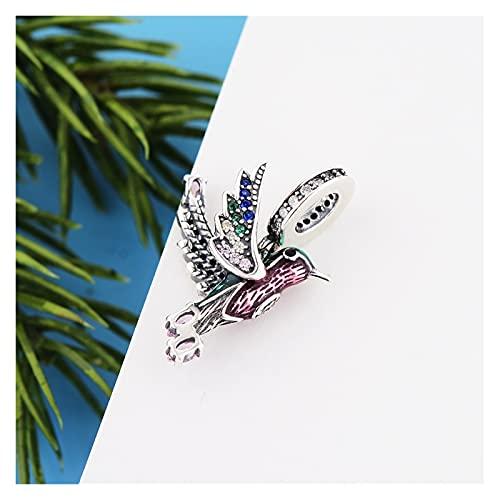 JIAQ Pulsera de Encanto 925 Sterling Silver Color Animal Color de la Pluma Hummingbird Bead para Hacer Mujeres Berloque 2021