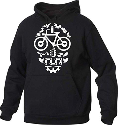 Felpa con Cappuccio Teschio Bici -BMX Mountain Bike Skull - Bicicletta - Biker Style - S M L XL XXL Maglietta by tshirteria