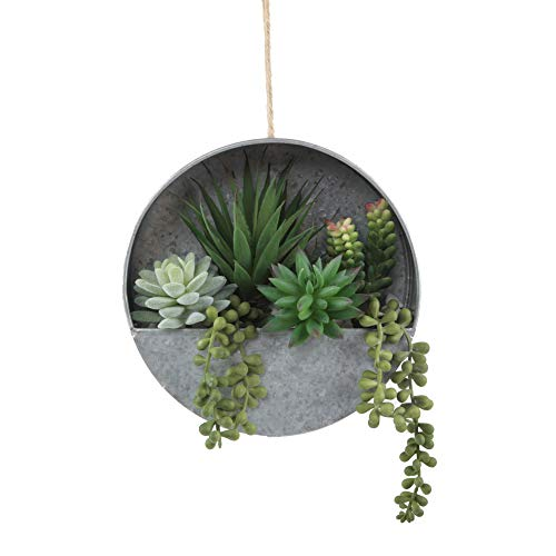 Flora Bunda Modern Artificial Succulent in 8 inch Hanging Galvanized Tin Wall Planter, Boho Wall Decor, Hanging Fake Plants Cactus for Home, Office