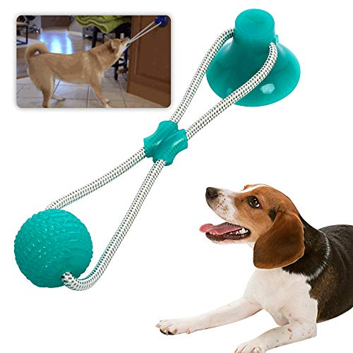 Pet Rubber Ball Toy with Suction Cup - Dog Chew Bite Rope Toy - Dog Interactive...