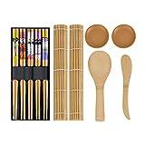 Himetsuya Juego de sushi de 11 piezas, estera de sushi, kit de bambú original para principiantes y amantes del sushi Juego de sushi de bricolaje Easy Sushi Maker.
