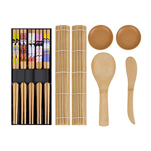 Himetsuya 11pcs Kit para Hacer Sushi de Bambú, kit de bambú original para principiantes y amantes del sushi Juego de sushi de bricolaje Sushi Fácil Profesional con Este