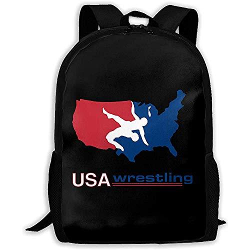 Zaino Per Studenti Leggero,Zaini Per Pc Portatili,Rsa Per Laptop,Zaini Casual,Borse Da Scuola Unisex Usa America Wrestling Logo, Borse A Tracolla Casual