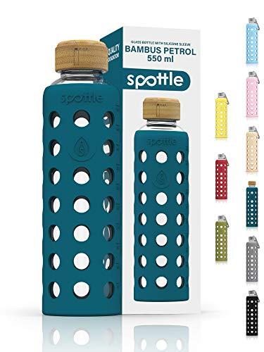 spottle Botella de cristal de 500 ml o 750 ml con funda de silicona / botella de cristal con funda protectora, botella de agua de vidrio para bebidas carbonatadas, apta para lavavajillas