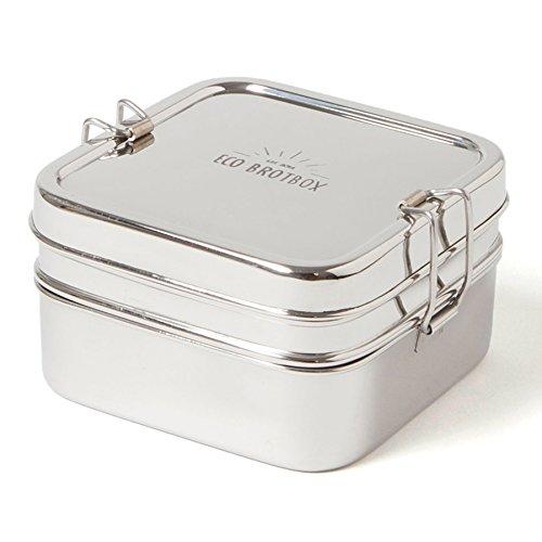 ECO Brotbox | Cube Box XL | quadratische Brotdose aus Edelstahl mit 2 Lagen | 1400 ml