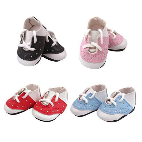 Colcolo 4 Pares de Zapatillas Sin Cordones para Vestir, Se Adapta a La Muñeca Mellchan de 14.5 Pulgadas, Muñeca Bebé