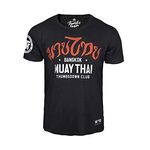 Pulgares Down Muay Tailandés Camiseta Bangkok. MMA. Gimnasio Entrenamiento. Marcial Artes Informal - Negro, X-Large