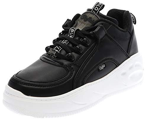 Buffalo Damen Sneaker Flat SMPL, Frauen Low Top Sneaker, Lady Ladies feminin elegant Women's Women Woman Freizeit leger,Schwarz(Black),38 EU / 5 UK