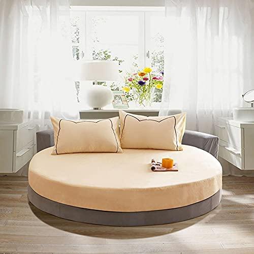 EYRLISL Sábana Ajustable Redonda de algodón Puro Sábana de Cama de Color sólido de Estilo Europeo para diámetro Redondo 220x220cm 9